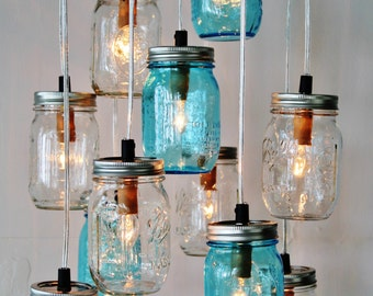 Mason Jar Cluster Chandelier - Upcycled Hanging Mason Jar Lighting Fixture  - Blue u0026 Clear Jars - Rustic BOOTSNGUS