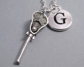 Lacrosse Stick Necklace, Lacrosse Charm, Keychain with Lacrosse Stick, Silver Plated Charm, Initial, Personalized, Monogram