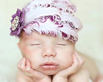 Purple Berry Elegant  Feather & Flower Rhinestone Headband