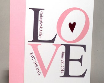 Save the Date Card - LOVE Pink and Purple