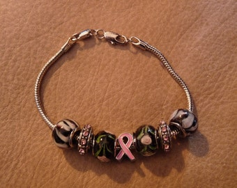 Breast Cancer Awareness - Lampwork Glass European-Style Bead Bracelet - Great Gift - Silver-tone - Black & Pink - FREE SHIPPING