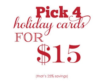 Letterpress Holiday Card Christmas Card Set - pick 4 value pack