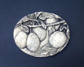 Plums Ceramic Pottery Fruit Relief Sculpture Tile