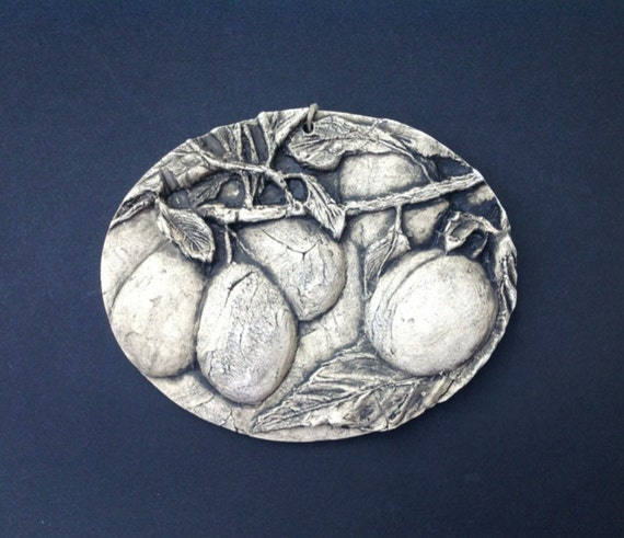 plums ceramic pottery fruit relief sculpture by. Black Bedroom Furniture Sets. Home Design Ideas