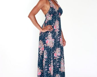 70s Floral Evening Dress Two Piece Size M Free Shipping