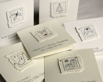 Pack of 6 MINI Handmade Christmas Cards with Envelopes