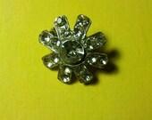 60s starburst rhinestone pin silver tiny brooch glitter sparkle star punk boho grunge jewelry