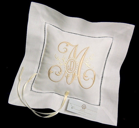 Monogram Wedding Ring Bearer Pillow: Monogram Ring Bearer Pillow Irish Linen Personalized Wedding