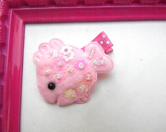 Felt Hair Clip - Pink Sequin Fish Felt Hair Clip-Felt hair barrette