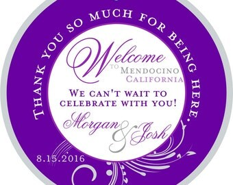 Wedding Hotel Gift tags 4 inch Round Purple Welcome tags for Bat Mitzvah, Destination and Weddings