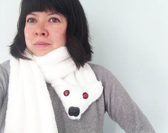 White Cuddle Fleece Direwolf Scarf- Modeled after Ghost from Game of Thrones