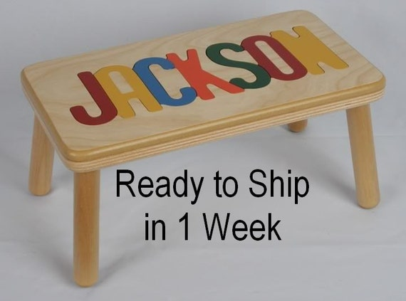 Name Puzzle Step Stool Bench Handcrafted By