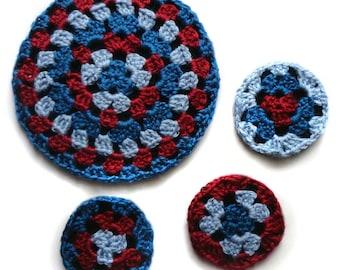 Round Granny Coaster and Trivet Set - PDF Crochet Pattern - Instant Download