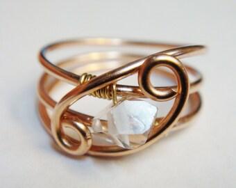 Herkimer Diamond Ring    Herkimer Gemstone in 14K Rose Gold Filled   Rose Gold Ring   Engagement Ring  Gold Ring  14K  14 Karat  Gold