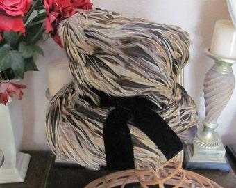 Vintage Ladies Feather Covered Top Hat - Bullocks Del Amo