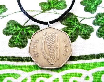 1971 IRISH Birth Year Coin Necklace/1971 50 Pence Ireland Necklace