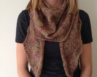 Soft and sofisticated multi-colored mohair and metallic shawl 63 x 15