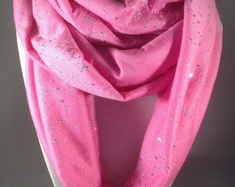 Fabulous Light Rose Twinkling Star Jersey Infinity Loop Scarf