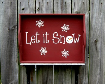 Decorative Tray, Let It Snow, Wood Tray, Hand Painted, Winter Decor, Holiday Tray, Snowflake, Barn Red, White Lettering, White Snowflakes