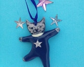 Small Gray Tabby Dancing Cat Ornament. Blue Dancing Cat Tree ornament. Great Cat Lovers Gift