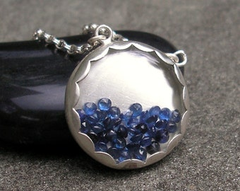Sapphire Necklace - Blue Sapphire Necklace - Sapphire Silver Necklace - Gem Shaker Necklace - Sapphire Gem Shaker Necklace - Snow Globe