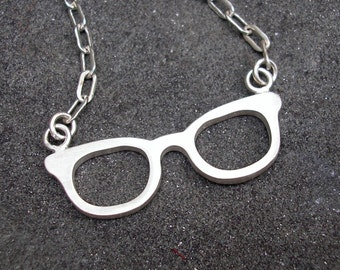 Geek Glasses Necklace - Silver Nerd Glasses Pendant - Sterling Silver Geek Jewelry - Sterling Silver Geek Pendant - Back to School Jewelry
