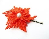 Hand Beaded Flower Bobby Pin with Opaque Orange  Seed Beads - OOAK