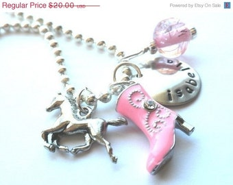 Horse Jewelry - Hand Stamped Charm Necklace Personalized PINK Boot HORSE #H304
