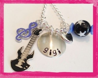 Personalized Guitar Necklace -  MUSIC To my EARS - Hand Stamped Necklace #M114