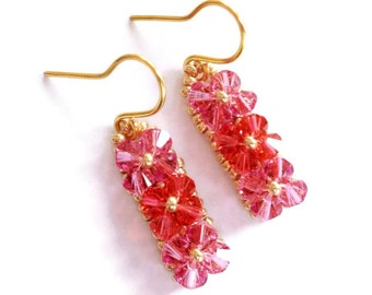 Rose and Coral Swarovski Crystal Woven Earrings