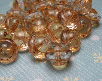 Gold Dust Faceted Glass Saucer Beads 8x9mm - 10pc