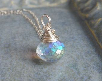 Mystic AB Gemstone Necklace, Wire Wrapped Mystic AB Quartz Onion on Chain Rainbow Sparkle Pendant