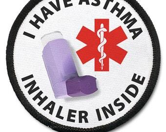 Asthma Inhaler Inside Medical Alert  Warning  Round Patch Choose Size and Rim Color