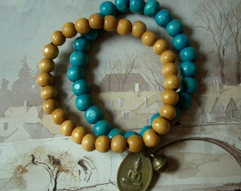 Buddha Bracelet, Buddhist Amulet, Set of Two Bracelets, Double Wrap Cuff, Turquoise Wood & Lemonwood Beads, Brass Prayer Bell, Free Shipping
