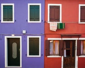 Italy Photograph Burano Photo Italian Colors Colorful Houses Blue Red Laundry Village  ita89