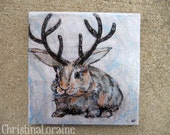 Jackalope art Magnet.  Shipping Included