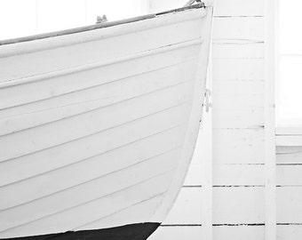 Nautical boat photograph boat photography 8x12 black and white fine art vintage boat  art print nautical home decor reflection wall art