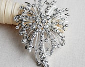 Rhinestone Brooch Crystal Snowflake Brooch Pin Wedding Brooch Bouquet Cake Hair Comb Shoe Clip DIY Supply Fireworks BR300