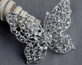 Butterfly Rhinestone Brooch Embellishment Crystal Pearl Wedding Brooch Bouquet Cake Invitation Decoration Hair Comb Clip BR312
