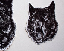 Wolf sticker/ small vinyl, 2.75 inches X 2in.(3-PACK)