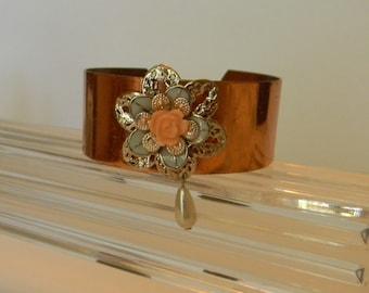 Adjustable Copper Cuff Bracelet:Smooth Copper Cuff-Copper Bracelet-Modern Filigree Cuff Bracelet-Bracelet Cuff