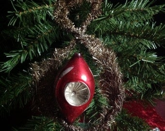 Antique Tinsel with Mercury Glass Indent  Christmas Ornament (0-57)