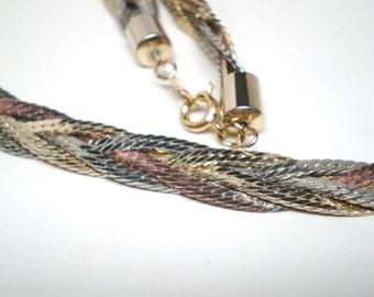 Vintage Necklace / Collar / Choker Bright 5 Braided Copper Silver Tones Textured  Serpentine Chains 1980s  Retro Art Deco Diva Statement