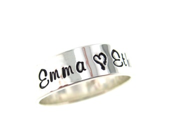 Personalized Ring - Sterling Silver Hand Stamped Jewelry