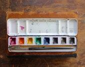 vintage paint box, antique watercolor paint box, school paint box, prang paint supply, watercolours, metal paint box, paints, art supplies