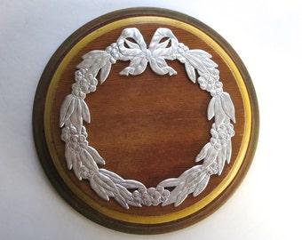 1 vintage silver wreath, silver foil wreath, silver embossed wreath, paper, christmas, dresden wreath, old silver foil dresden, leaf, laurel