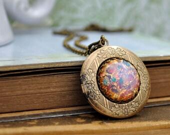 pink opal necklace, opal locket necklace, vintage opal necklace, pink opal pendant, PINK OPAL, vintage jeweled necklace