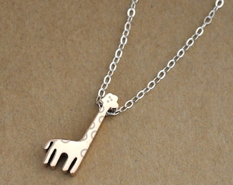 sterling silver necklace, PETITE GIRAFFE NECKLACE, rose gold animal charm, dainty gold giraffe necklace