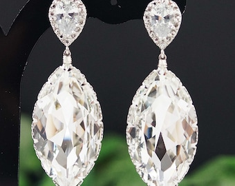 Matte Rodium plated Cubic zirconia ear posts with Clear White Swarovski Crystal Navette drops Bridal Earrings