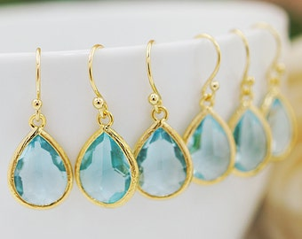 Bridesmaid gifts Bridesmaid Earrings Wedding gift Aquamarine Glass drops dangle earrings Everyday gift for her Christmas gift under 20